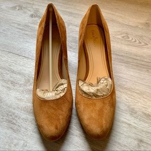 Cole Haan Suede Chunky Heels, Size 8 1/2B